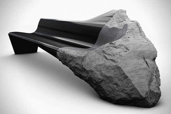 ONYX sofa by Peugeot design lab. Incredible design, contrast between perfectly smooth to the rough unevenness of the volcanic lava stone.
