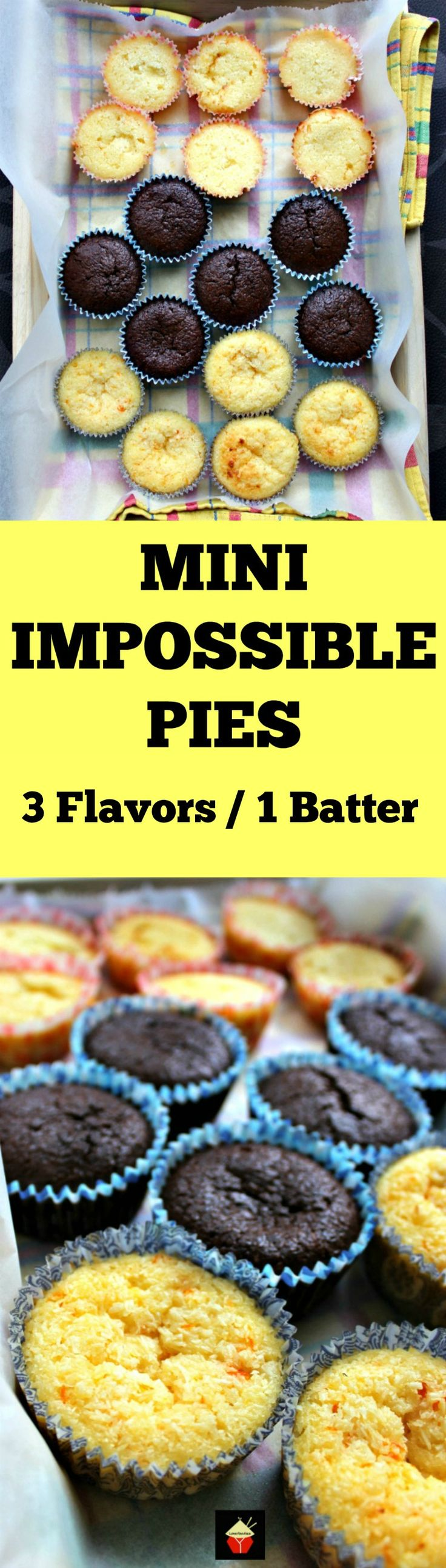 Mini Impossible Pies! Recipe for 3 different flavors using only 1 batter. Great for parties and always so popular! A really easy pie recipe. | Lovefoodies.com