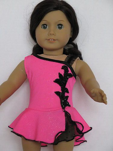 Black Trim on Silver Sparkled Pink Ice Skating Dress fits American Girl Dolls