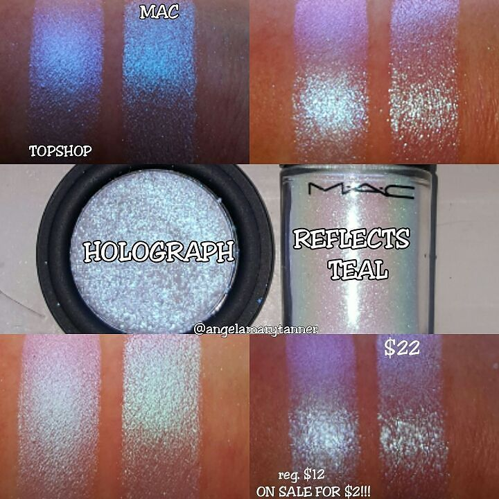 TOPSHOP 'HOLOGRAPH' ($12 on sale for $2!) vs MAC 'REFLECTS TEAL' GLITTER $22  THIS IS NOT A DRILL!! This gorgeous TOPSHOP eyeshadow is ON SALE FOR TWO DOLLARS!!! With FREE SHIPPING!!! Go! Now!  Okay. Now that you've bought this eyeshadow before it sold out let's talk. It's very similar to MAC REFLECTS TEAL. Not an exact dupe but close enough that I think you can pass on the MAC one. REFLECTS TEAL is a very fine cut loose glitter. It has a white base and reflects blue pink purple green and…