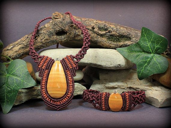 Vitality Collection: Onyx Macrame Necklace and by MundialTreasures