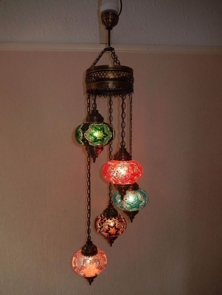 Turkish Moroccan Chandelier 5 drops Mosaic Glass ceiling Lamps Hand Made