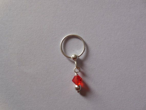 Unique Silver nose ring  with red hanging by Gemstonebeadsfinding