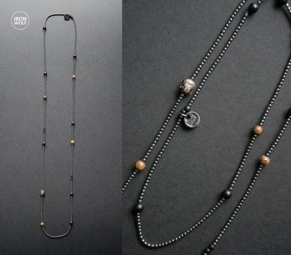 Hematite Onyx Horn Wood necklace / hematite by IRONWOLFjewelry