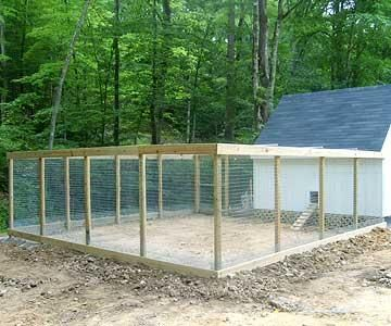 """nice chicken coop- all wire enclosed to be predator proof. Wire roof to keep the hawks out. Wire underground all around to keep """"diggers"""" from going under. Also, provide a solid roof on part of the shelter for sun, rain, winter snow protection"""