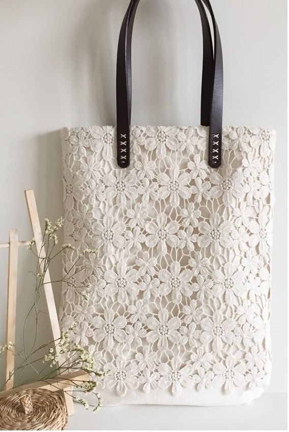 Handmade Shabby Chic Cotton Wedding Bag, Lace Bag, Lace Tote, Vintage Style…