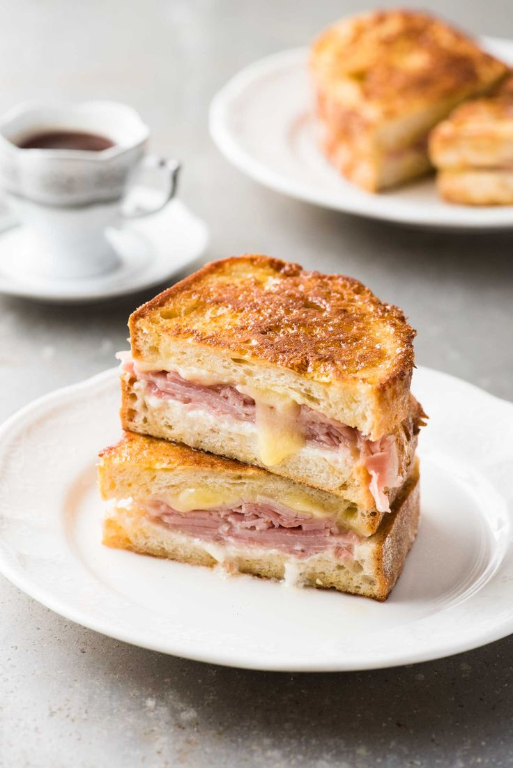 A ham and cheese sandwich, dipped in egg and cooked like french toast to perfect golden brown, buttery perfection!