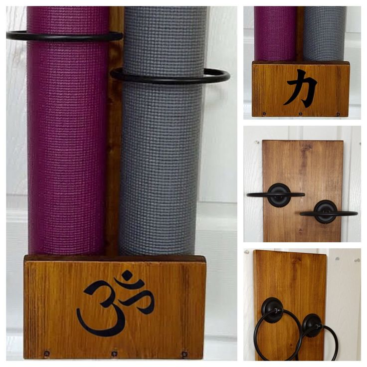 The double mat holder. Customize it with the namaste symbol or several other choices. Perfect for the yoga home gym or couples.  Or perhaps a health center or corporate office gym. Handmade and ships fully assembled with hardware to hang already attached