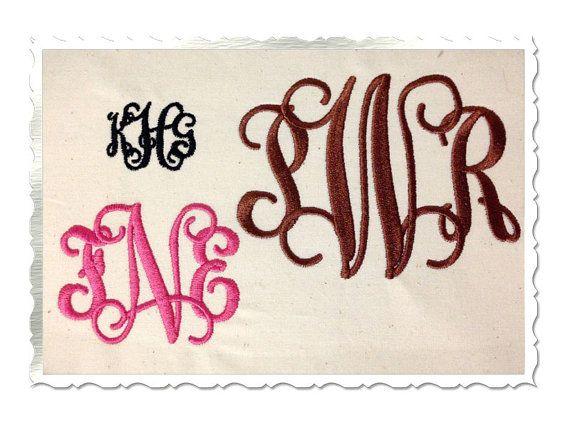 Vine Intertwined Monogram Machine Embroidery Font Alphabet - 3 Sizes