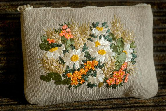 Embroidered Makeup Bag Field Melody. Travel Makeup Bag. by MADinUA