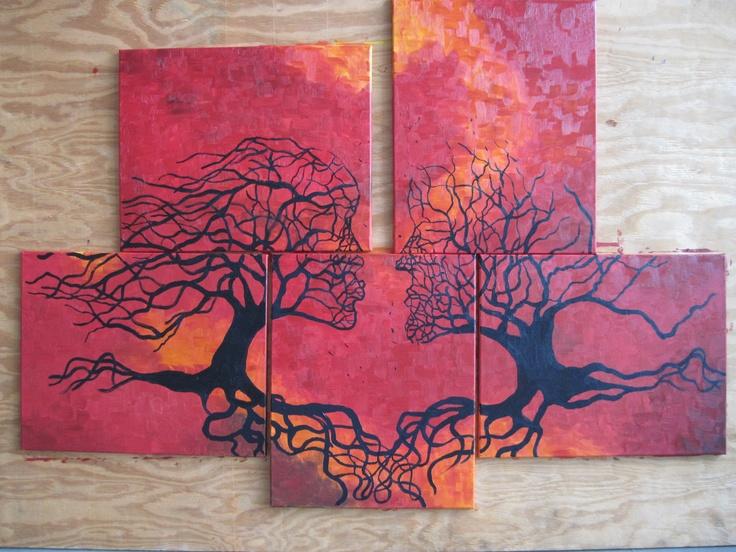 Multi Canvas Tree Painting