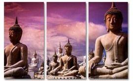 Paars buddha drieluik schilderij op canvas