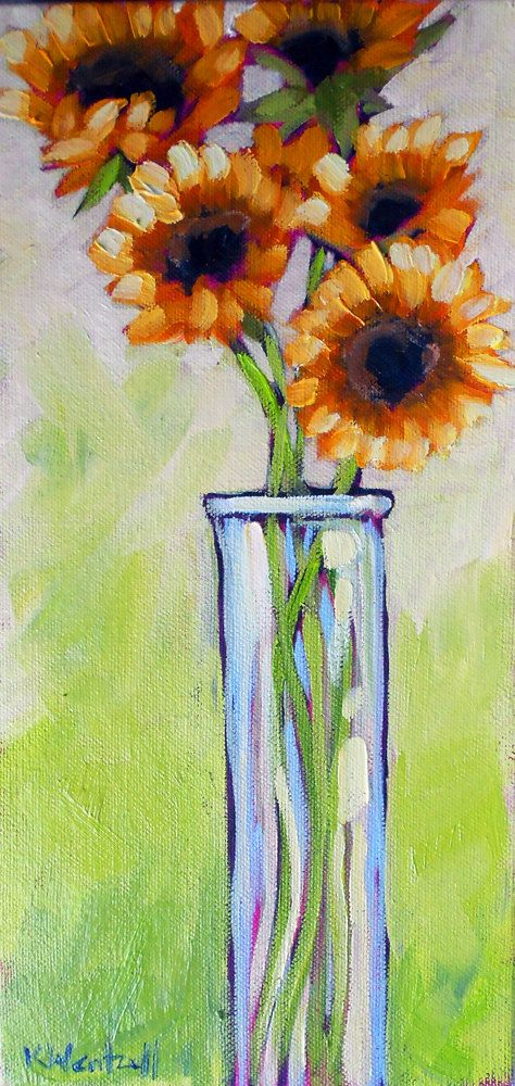 Sunflowers in a Tall Vase  Original Contemporary Oil by kwentzell