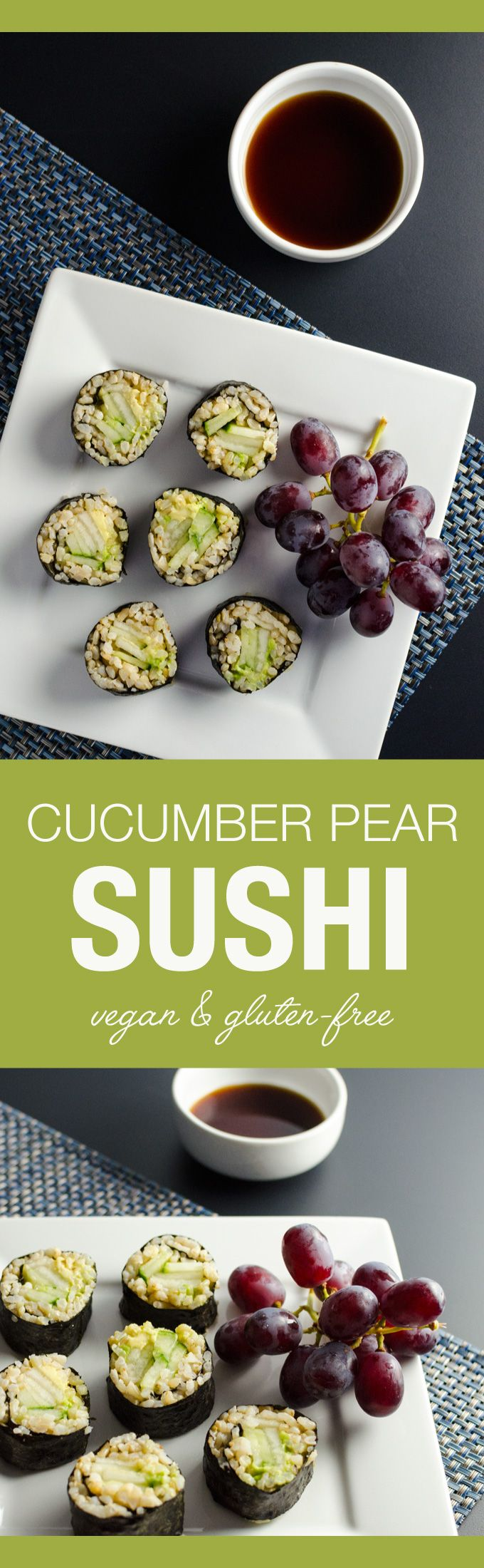 Cucumber Pear Sushi - an easy vegan and gluten-free recipe offering a lovely blend of sweet, fresh and crunchy flavors and textures | VeggiePrimer.com