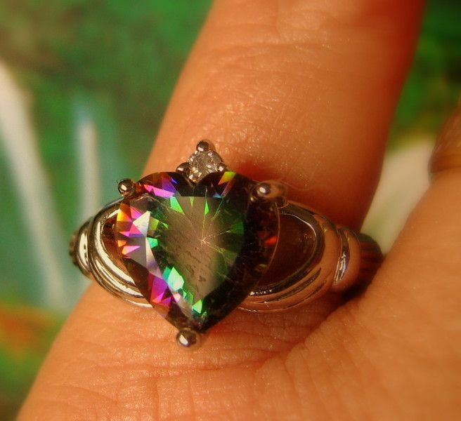 HEART+ENGAGEMENT+925+silver+RING,+Mystic+TOPAZ+from+CamelysUnikatBijoux+by+DaWanda.com