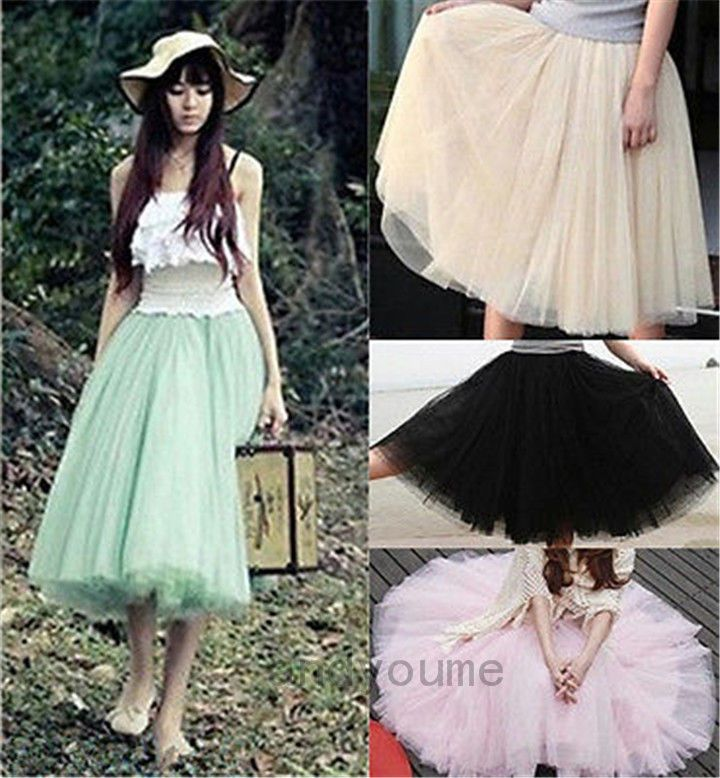 Details About Women Stylish 5 Layers Tutu Skirt Petticoat Knee Length Mini Dress Plain