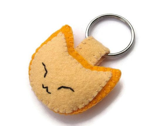 Cute felt cat keychain, ginger kitten key ring, plush yellow kitty, embroidered key chain on Etsy, $9.18 AUD