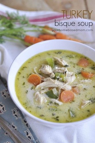 Turkey Bisque Soup - 2 C cooked turkey or chicken 1/4 C onion, diced 1 Tbsp olive oil 2 cloves garlic, minced 1 C carrot, diced 1 green pepper, diced 1 Tbsp parsley 4 C turkey or chicken stock 4 tsp Worcestershire sauce 2 Tbs butter, softened 4 Tbs flour salt and pepper to taste 1 C half & half