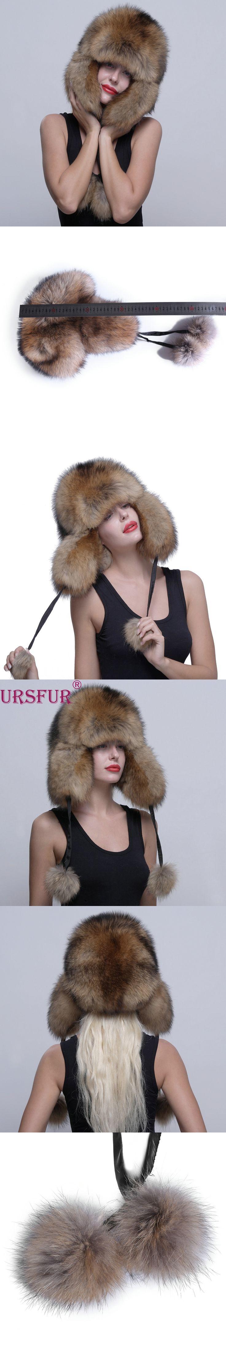 URSFUR Genuine Raccoon Fur Hat Russian Ushanka Trapper Hat Cap with Fur Ball Pompom Ear-flaps Soft And Warm Bomber Hats