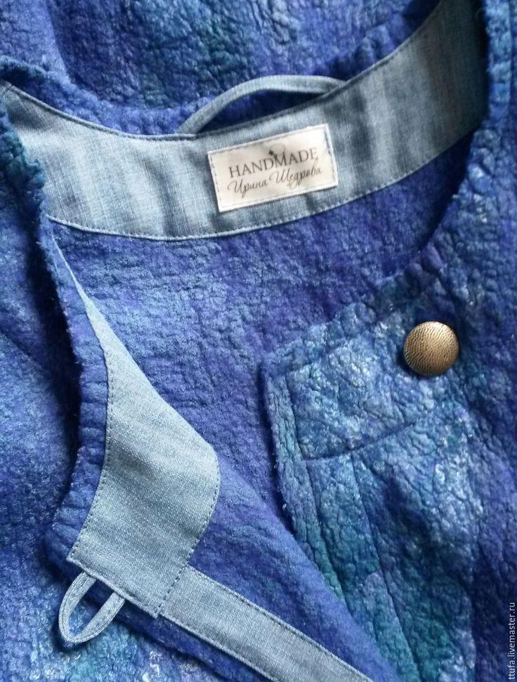 """Купить Пальто летнее валяное """"Глубокое синее море"""". - синий, пальто женское, пальто валяное"""