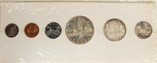 1953 Canada Coin Set  Choice Brilliant    Uncirculated. All Coins are The No Shoulder    Strap Variety except for Quarter which is    with The Shoulder Strap. Half Dollar is    the small date variety.  $81.00