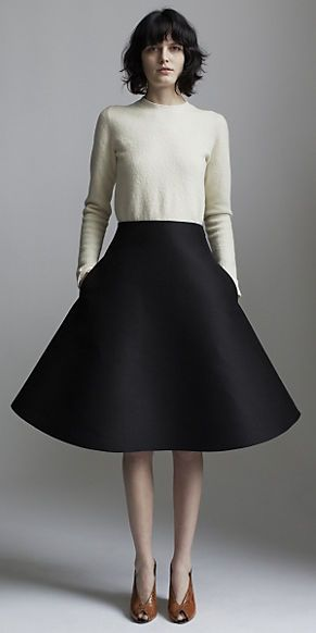 Céline, Spring 2014, black flared skirt, wool shirt