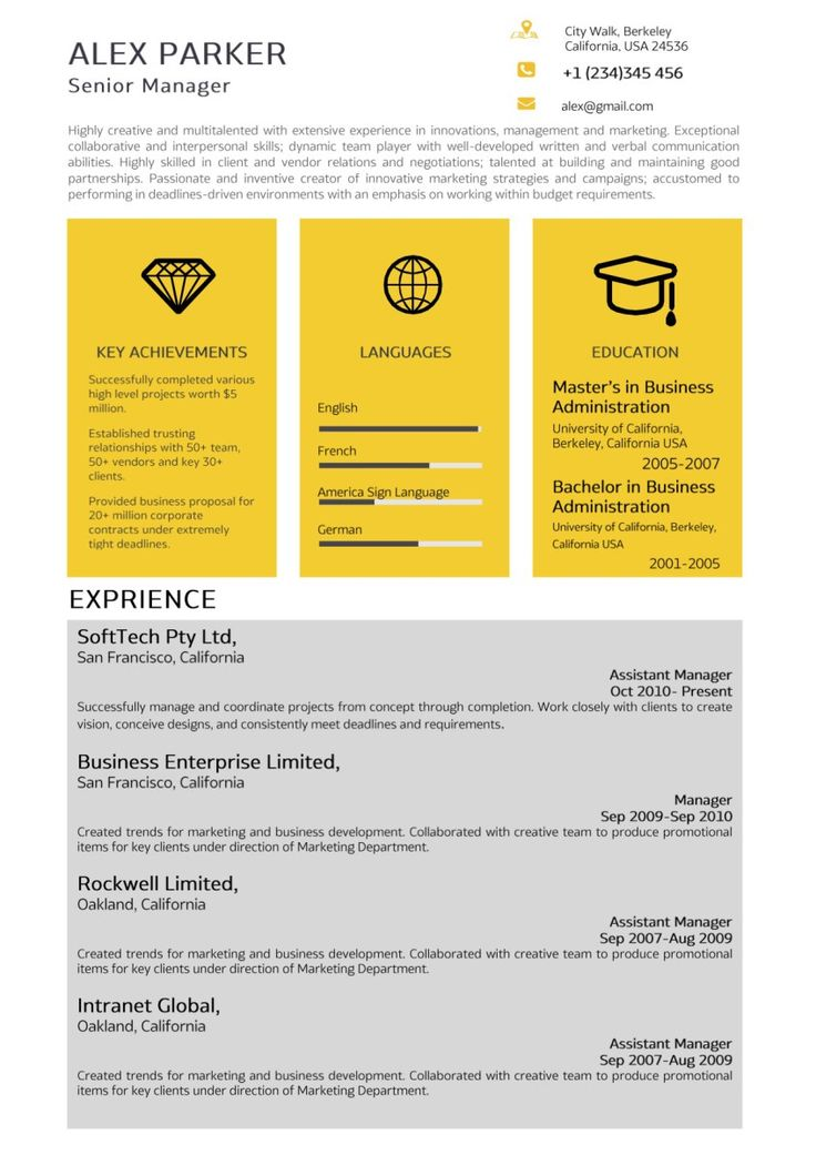Yellow Grey Professional Resume Professional resume