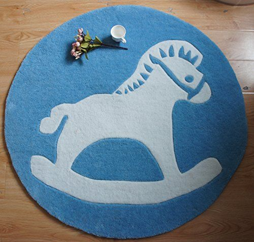 Ustide blue rug round area rugs handmade rug contemporary for Round rugs for kids