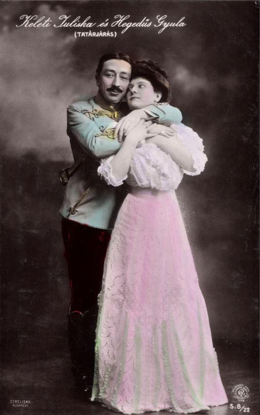 Hegedűs Gyula és Keleti Juliska a Tatárjárás című operettben (1908) - Forrás: postcards.hungaricana.hu