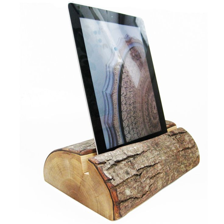 tablet stand heavy half log ipad holder fallen salvaged wood eco finish