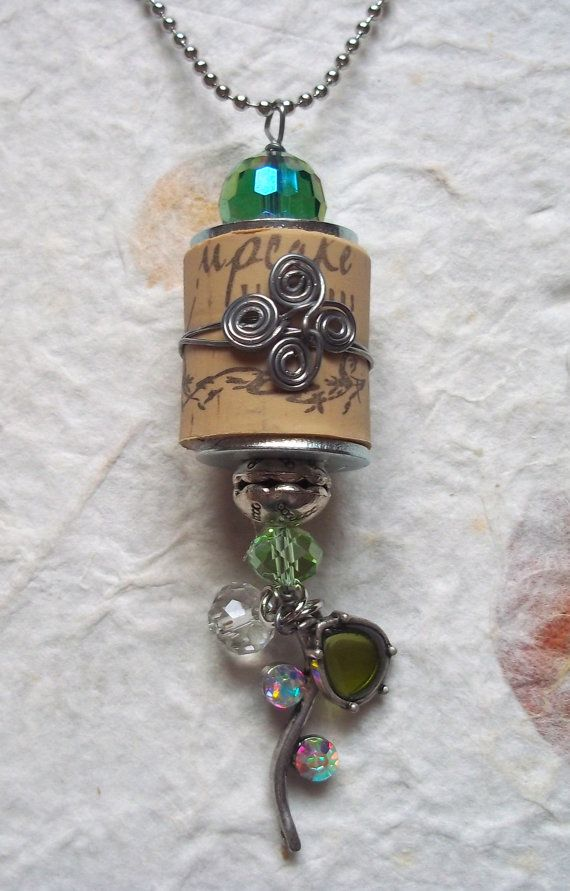 Wine cork necklace with rhine stone and beaded by TammyRoseDesigns