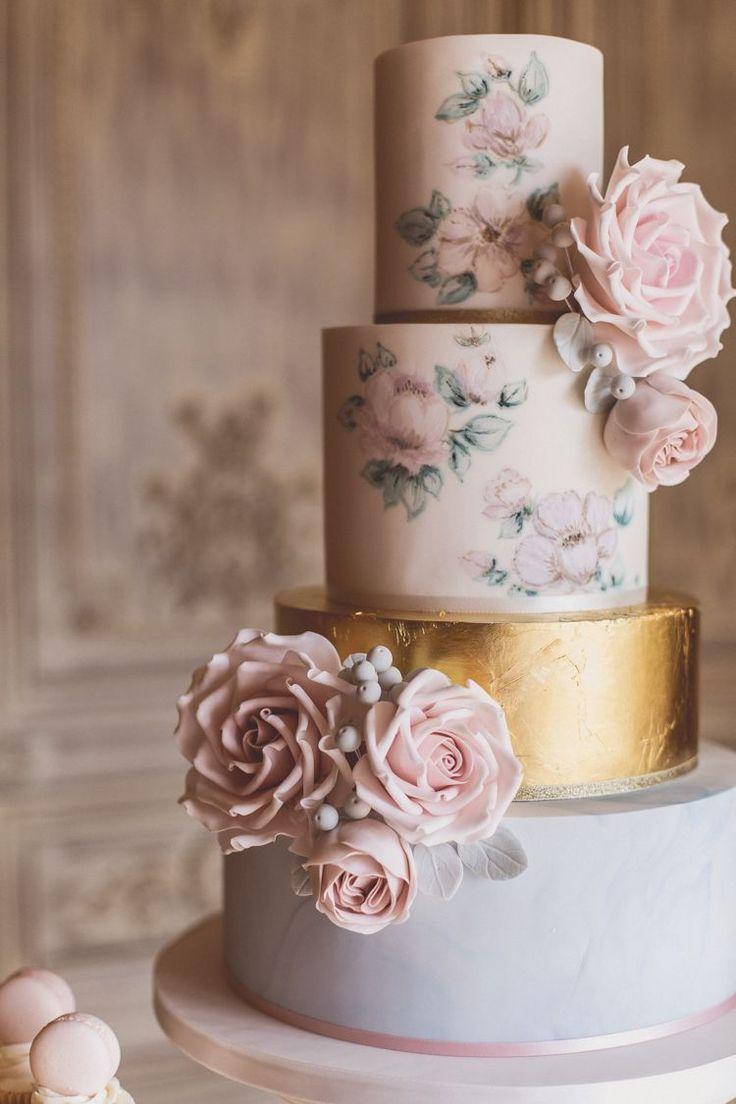 Floral Cake Gold Metallic Pastel Rose Quartz Serenity Spring Wedding Ideas https://www.wearetheclarkes.com/ #floralweddingcakes #whiteweddingcakes
