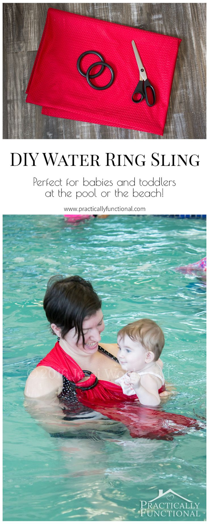 Love this DIY water ring sling! So quick and easy to make and it makes it so easy and worry free to go in the water with a baby or toddler!