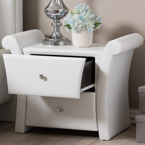 Modern Creative Nightstand Ideas Victoria Upholstered Large White, Baxton Studio
