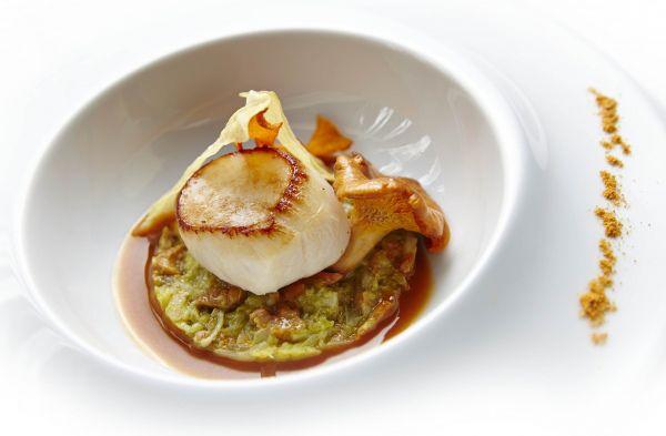 Chef Jean Luc Ortu: Vieiras assadas, confit de couve com girolles, molho de crustáceos