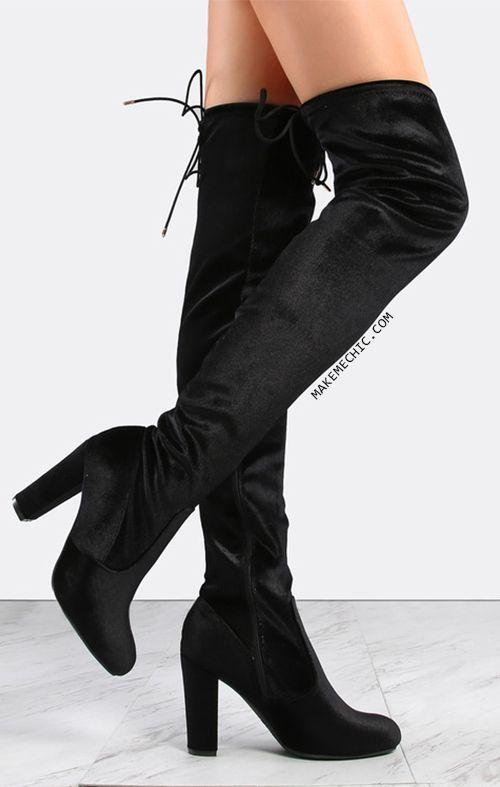 Smooth Velvet Thigh High Boots BLACK