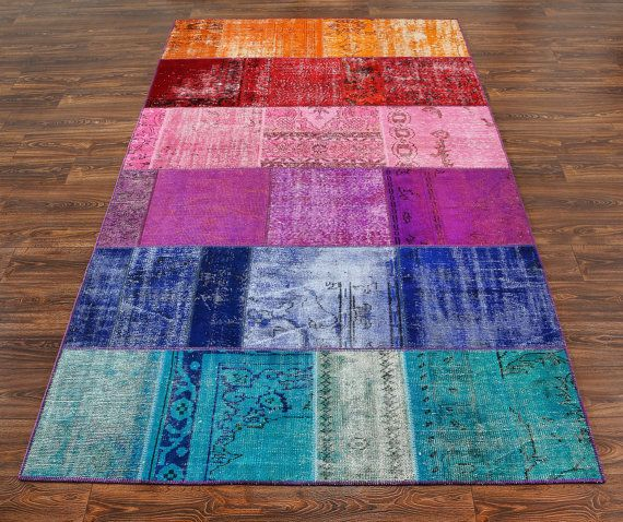 118x77 Inches Wool Carpet - Patchwork Carpet - Multicolor Carpet - VINTAGE Rug - Turkish Rug - Overdyed Rug - Wool And Cotton Rug - 864