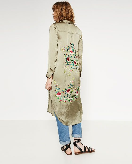 ZARA - WOMAN - LONG FLORAL SHIRT (i'd also wear this with a black skirt or dress underneath)