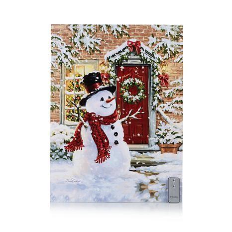 Winter lane fiber optic lit canvas art snowman
