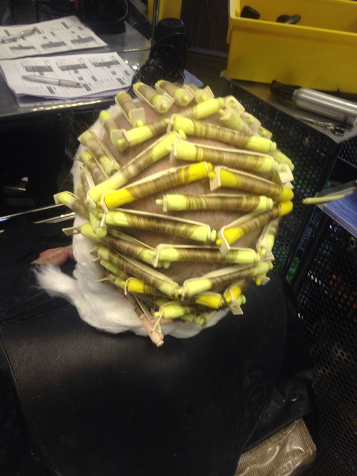 Directional Amp Brick Wind Perm With Yellow Rollers Using