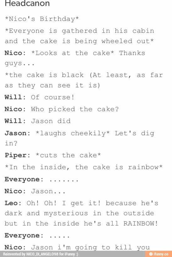 Nico's Birthday Cake; Brought to you by Jason Grace