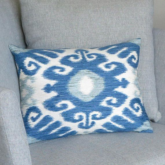 Blue White Decorative Pillow  Linen Throw Pillow for Couch