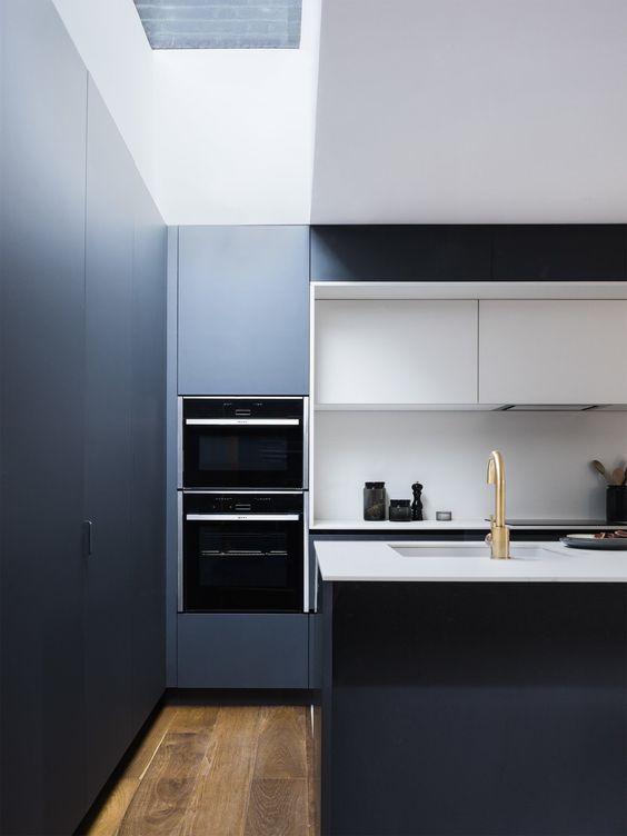 Cuisine Contemporaine Bleu Nuit Et Blanche Façade En Fenix