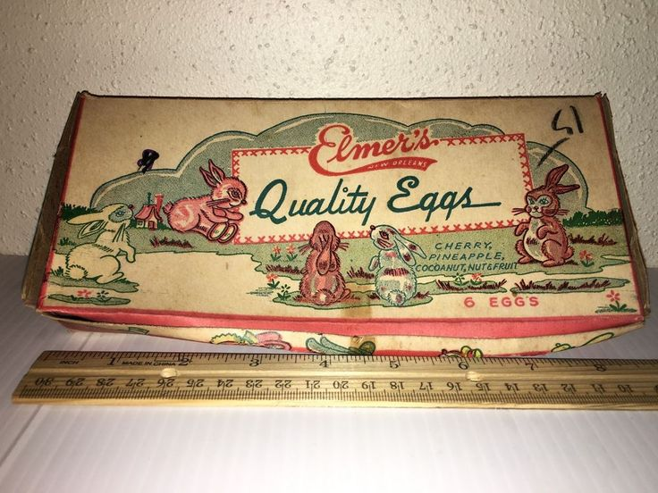 Vintage ELMER'S CANDY COMPANY CO. BOX of 6 EASTER Eggs Bunny Rabbit NEW ORLEANS