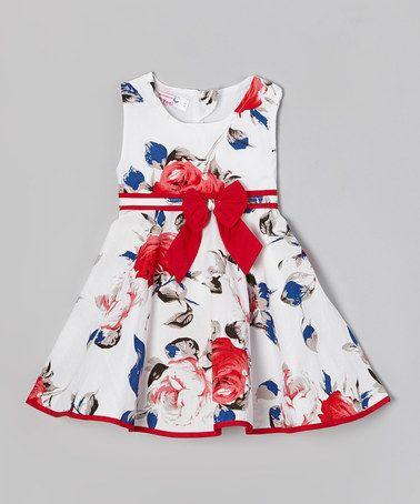 http://www.zulily.com/invite/vhanson979 Another great find on #zulily! White & Red Flower A-Line Dress - Toddler & Girls #zulilyfinds