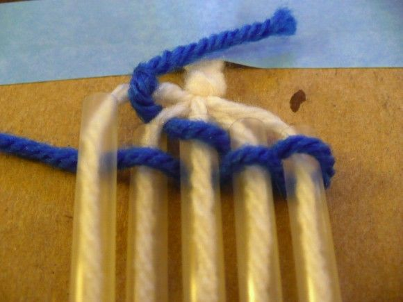 "Straw weaving. This is fun. I did this with all my fifth grade classes this past school year. They loved it! Sucking the yarn through the straws got a lot of giggles! :) Easy project! ""Over, under, over, under...go around & do the same thing again on the other side!"" Tip: Don't get the straws that bend at the top! Good idea for basic preposition craft."