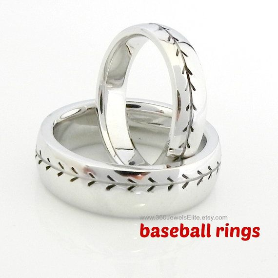 Baseball ring in a 6mm width. This baseball patterned ring is made from sterling silver and plated with white gold for a polished finish.
