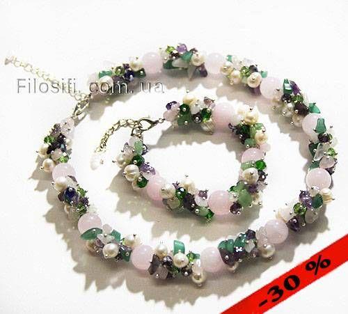 Ожерелье из  розового кварца, нефрита, аметиста