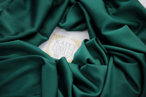 270 Emerald Green Satin Silk Fabric Soft Luxury Silk Fabric