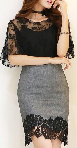 StyleOnme_Floral Lace Hem Pencil Skirt #elegant #black #lace #hem #skirt…